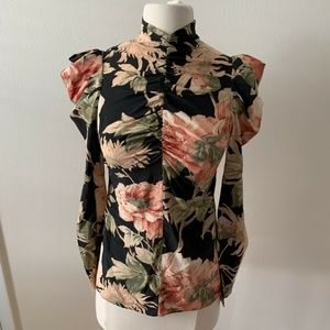 Zimmermann Silk Drape Blouse Floral Long Sleeve 2